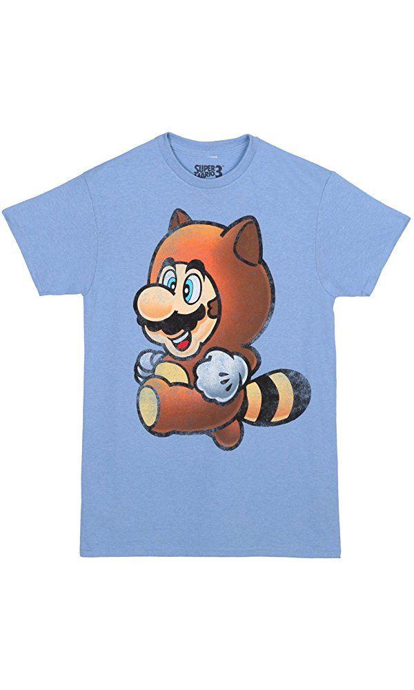 c5623ff95 Super Mario Bros 3 Tanooki Mario Adult T-shirt - Light Blue (Large) Best  Price