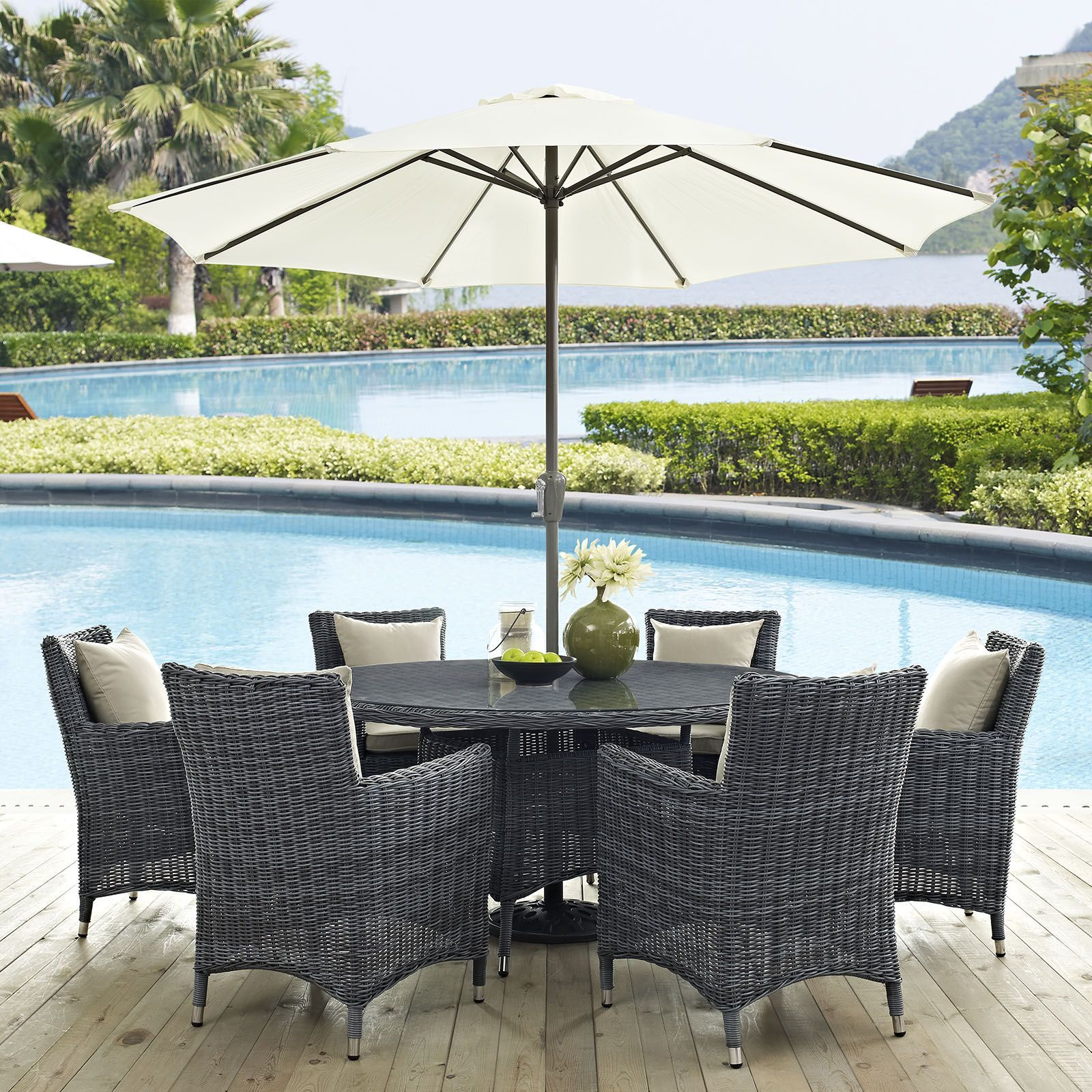 Summon 8 Piece Outdoor Patio Sunbrella R Dining Set