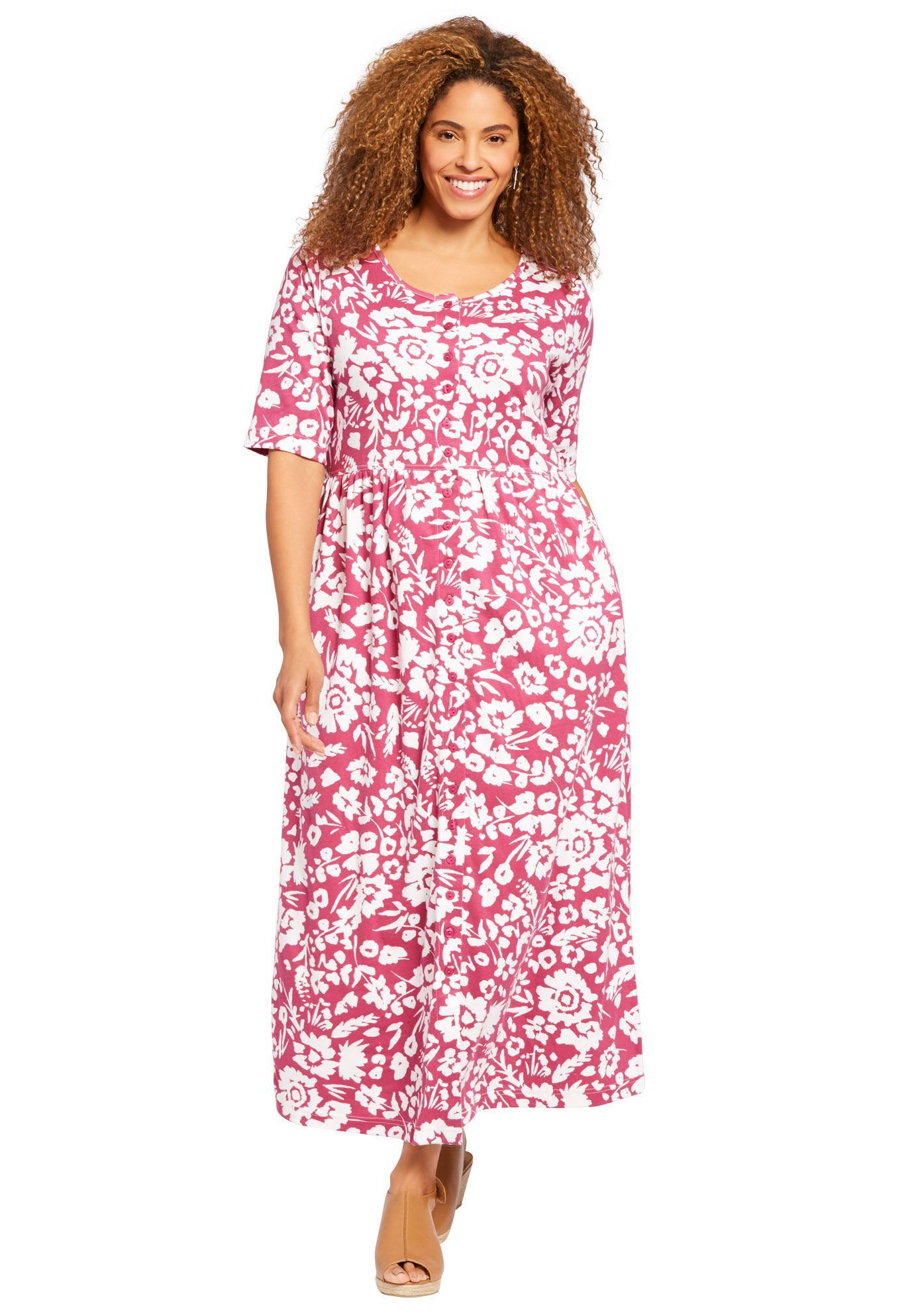 cd9af6496b9 Petite dress with button front