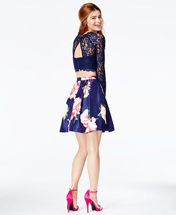 907652a7 Sequin Hearts Juniors' 2-Pc. Lace Cutout-Back Floral-Print Dress, a Macy's  Exclusive Style | macys.com