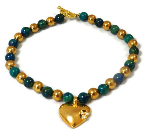 Gold Bead and Agate Anklet / Green Agate Anklet / Handmade