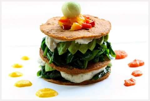 Raw Spinach Napoleon by Russell James