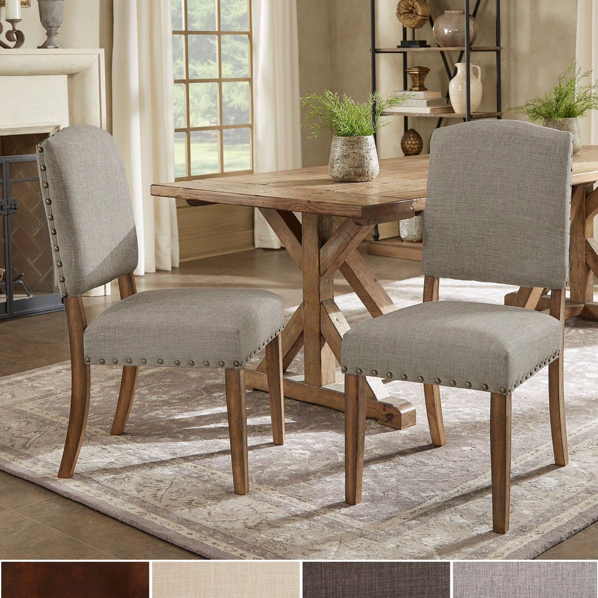 Dining Room Sets Leather Chairs New Benchwright Nailhead Upholstered Dining Side Chairssignal Decorating Inspiration