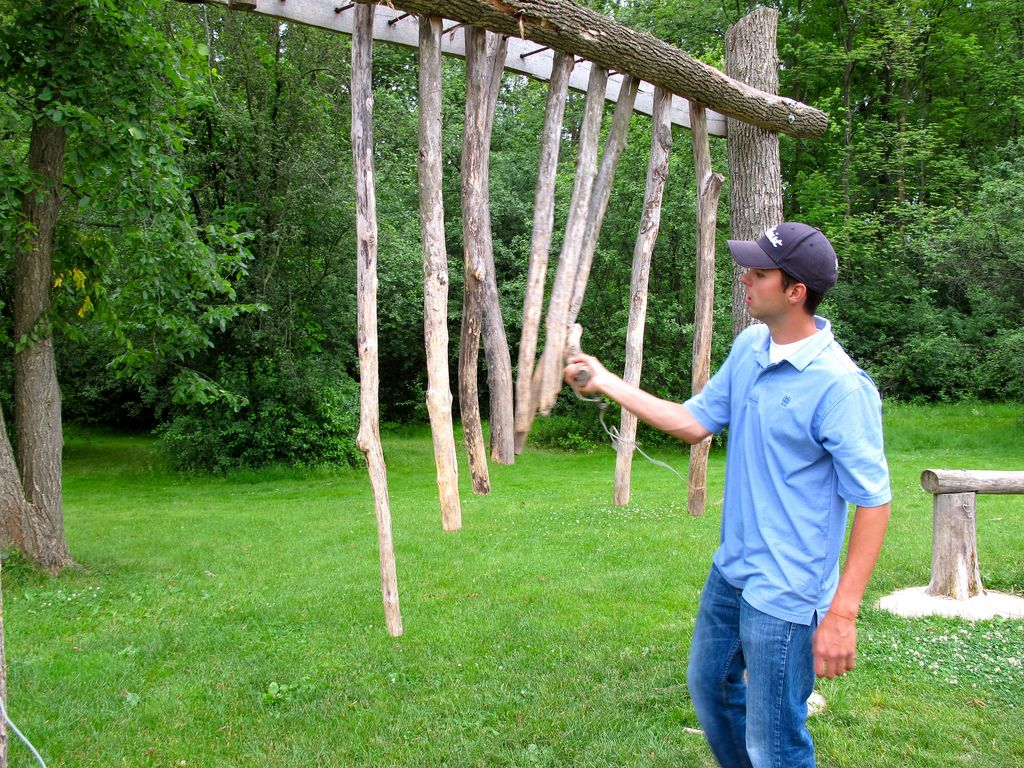 Beautiful Suspended Branch Xylophone. Love The Rusticity Of This! No Idea Where It Is    Somewhere In The US, I Think.