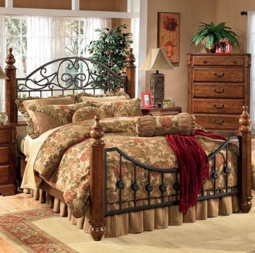 King Size Bed Frame Metal Solid Wood Traditional Country Headboard