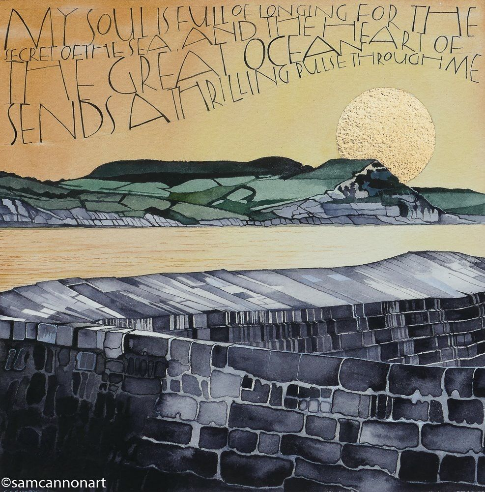 Sunrise from Golden Cap, Jurassic Coast, Dorset. Also showing the Cobb in the foreground in Lyme Regis. Watercolours on watercolour paper with Gold leaf for the morning sun.