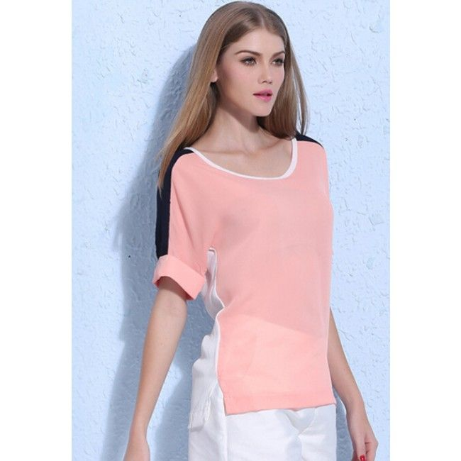 O Neck Batwing Sleeve Chiffon Shirt Lady Girl Blouse Tops
