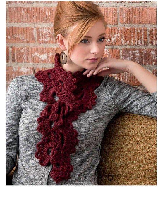 Bufanda Medias Lunas Crochet Patron - Patrones Crochet | Tejido ...