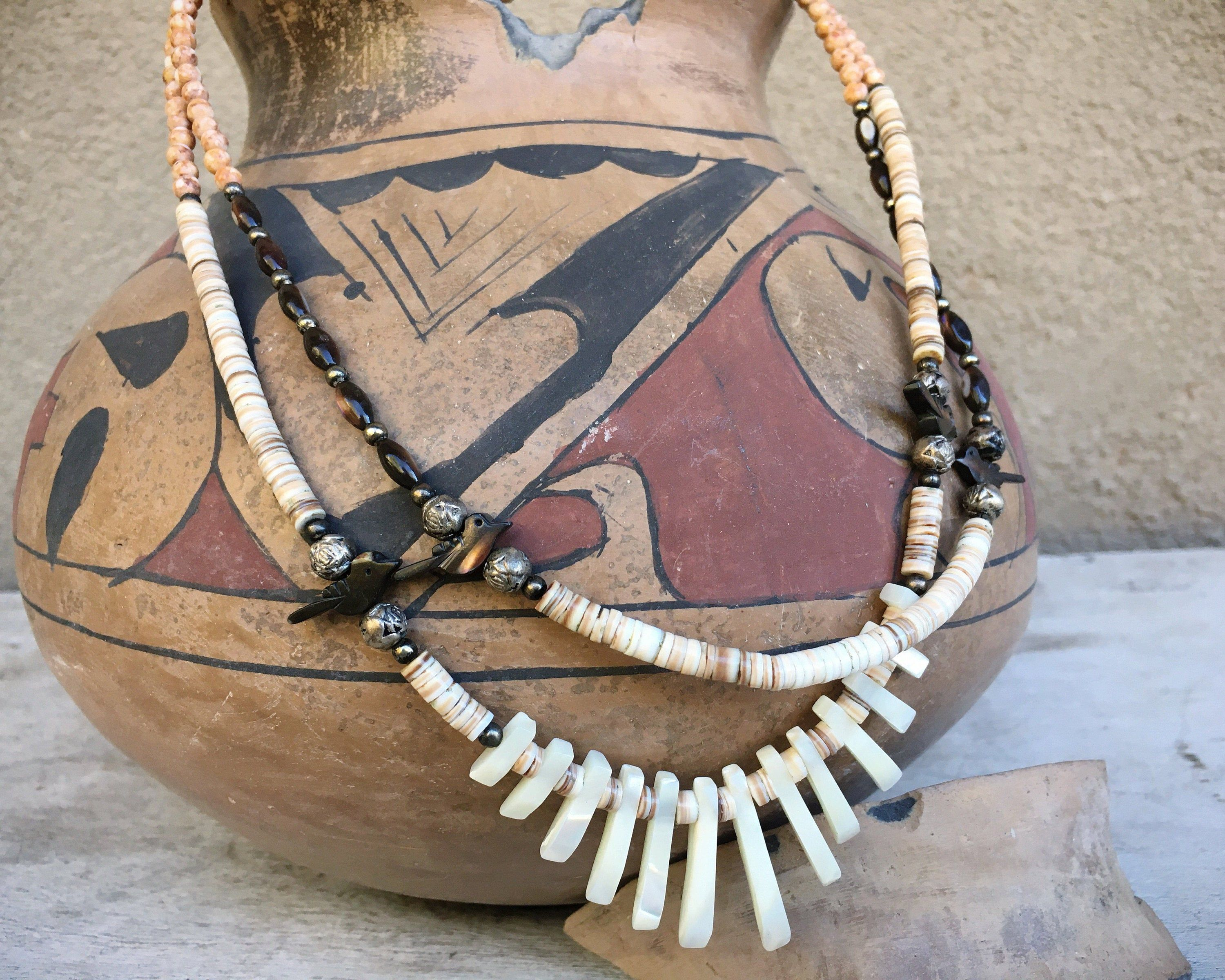 1980s Mother of Pearl Pen Shell Heishi Necklace for Women