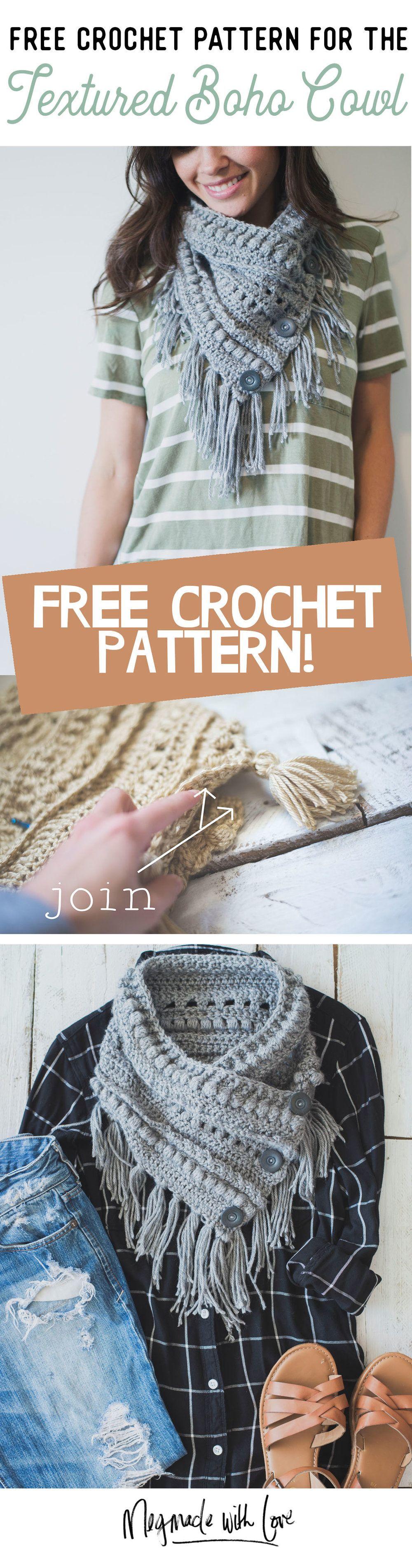 Free Crochet Pattern for the Textured Boho Cowl | Tejido, Ganchillo ...