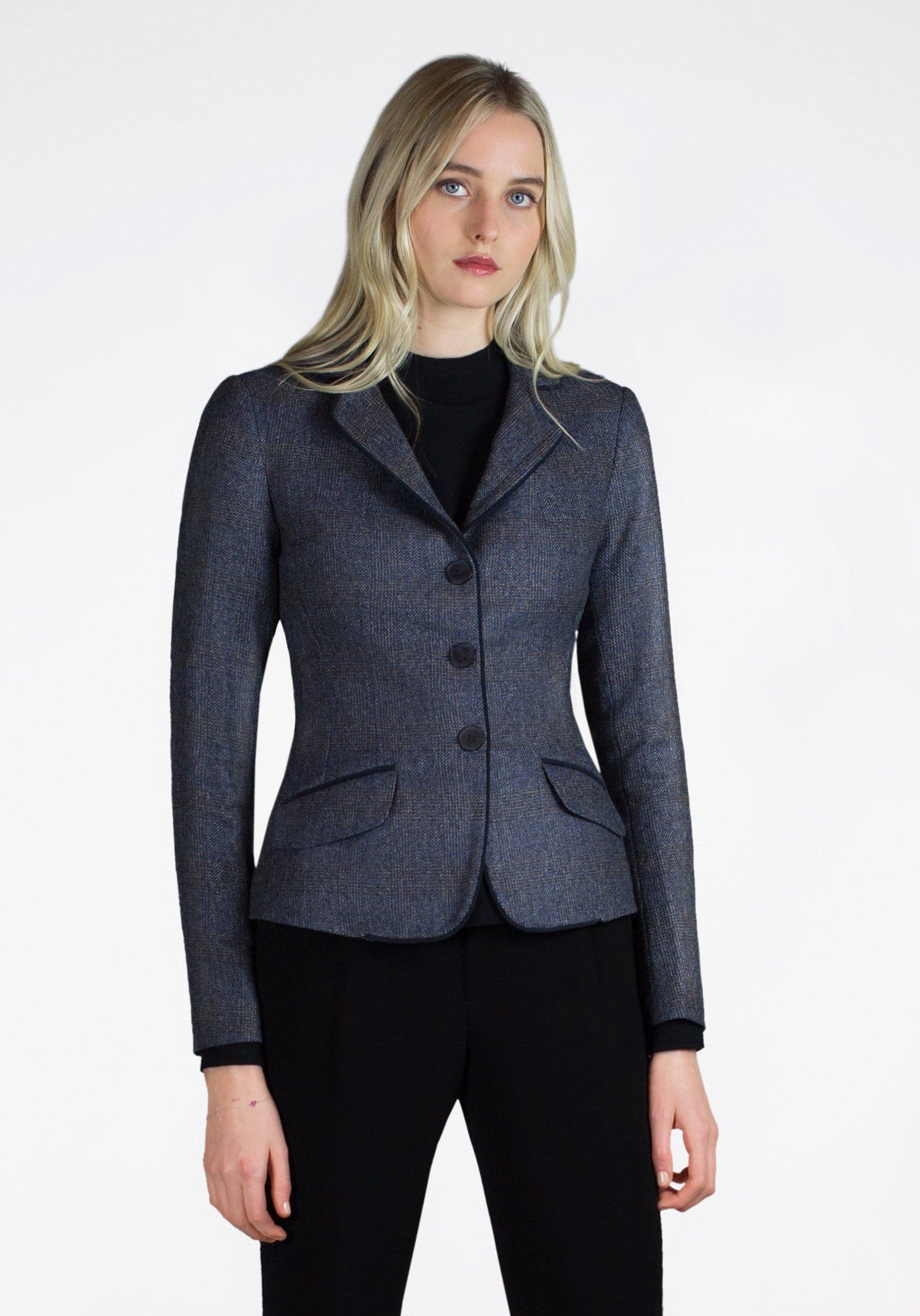 Daisy Jacket in Navy & Brown Check – Katherine Hooker