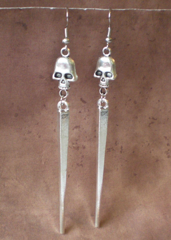 long metal spikes and skulls earrings goth emo punk biker jewelry