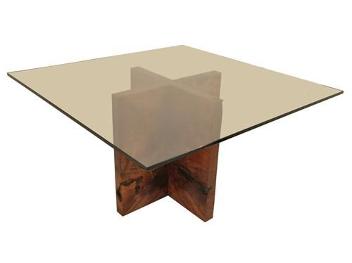 Claro Walnut Dining Table Base  Square Glass Toprotsen Entrancing Bases For Glass Dining Room Tables Inspiration