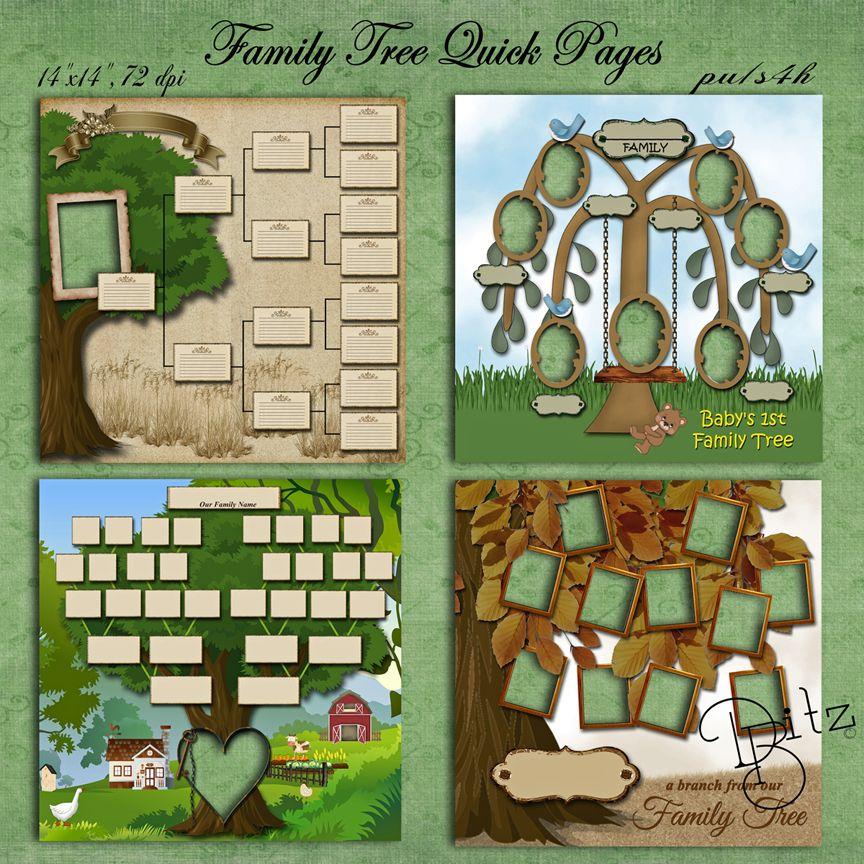 family tree vintage digital scrapbook page templates ...