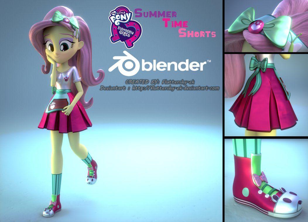 EQG] Fluttershy Summertime Shorts 3D Model by Fluttershy-ek ...
