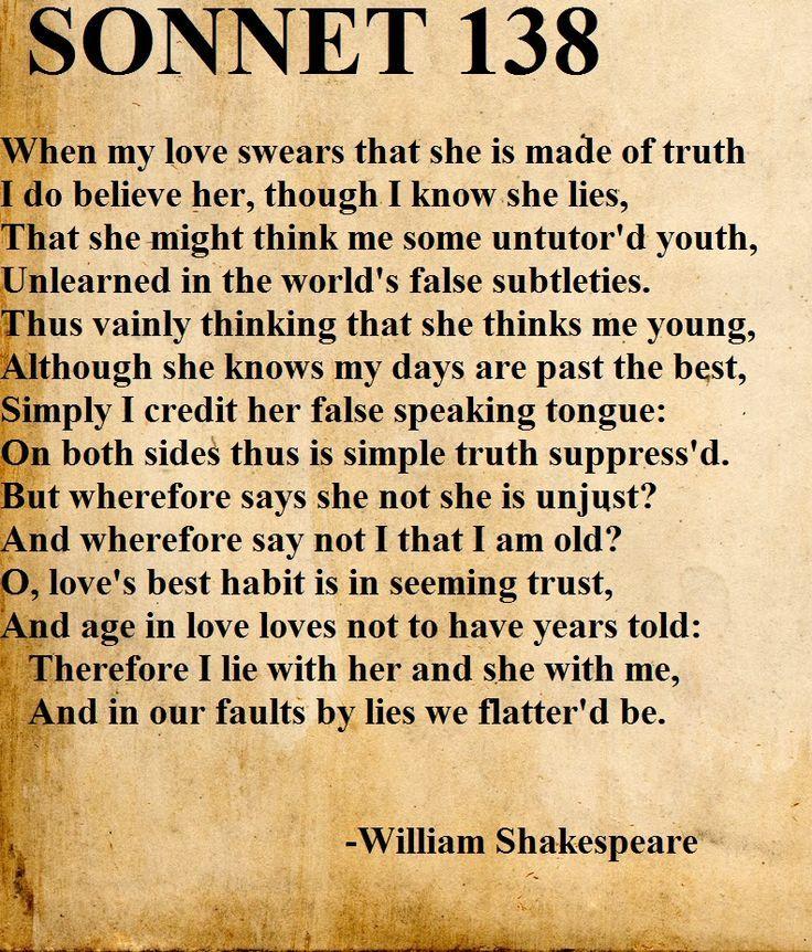 Afbeeldingsresultaat Voor Shakespeare Sonnet 138