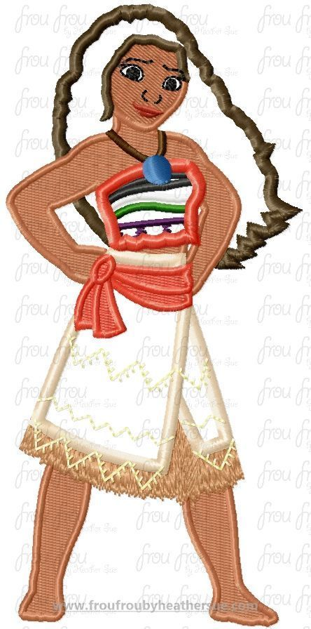 "Mona Full Body Hawaii Polynesian Machine Applique Embroidery Design, Multiple sizes 4""-16"", $3.75"