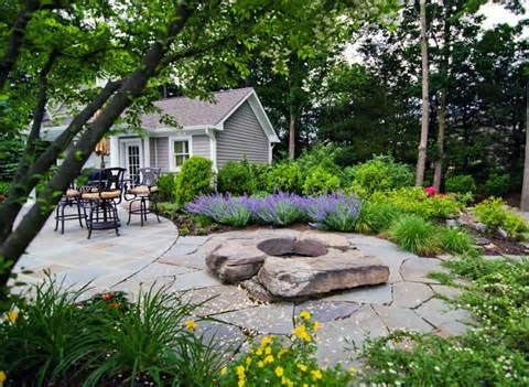 Rustic Stone Firepit Patio And Pool Landscaping Ideas Mahwah New Fire Pit Landscaping Backyard Landscaping Designs Fire Pit Backyard