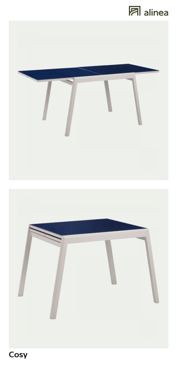 alinea : cosy table de jardin extensible bleue en alu et verre ...