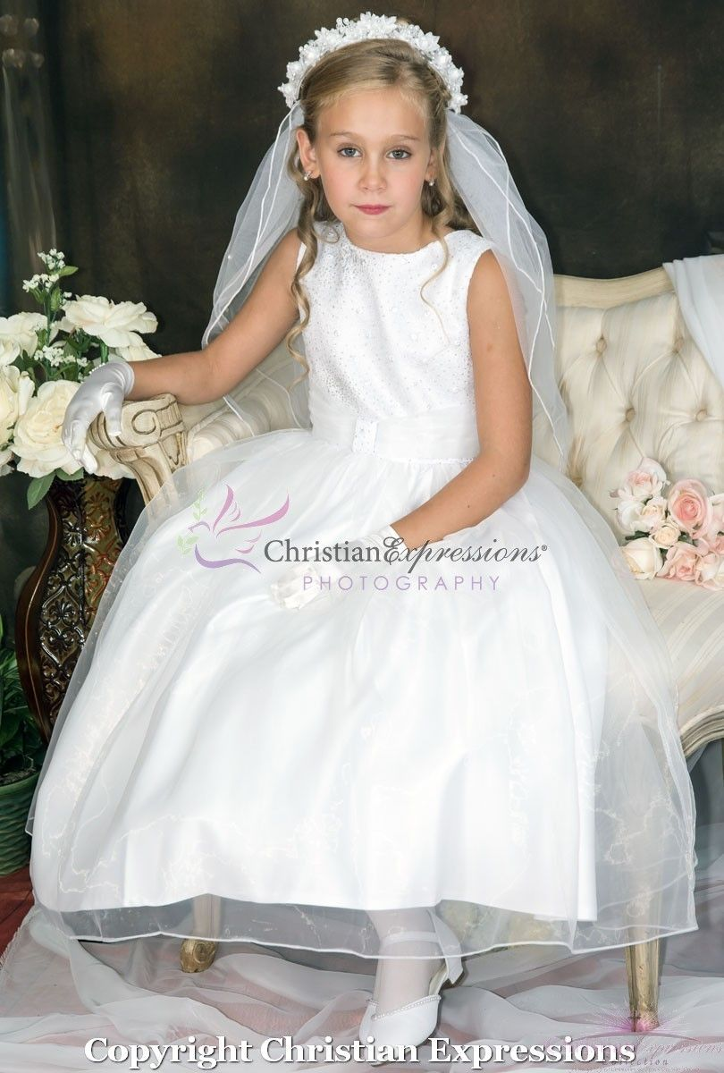 4dd39f7b9ef Sequined Bodice First Communion Dress Christian Expressions
