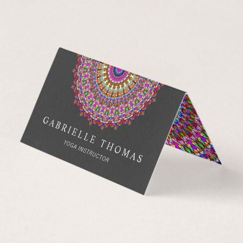 Colorful Floral Geometric Mandala Business Card #DavidZydd #PrintTemplate #SpiritualCounselor #Templ...