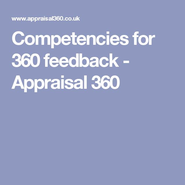 Competencies for 360 feedback Appraisal 360 360