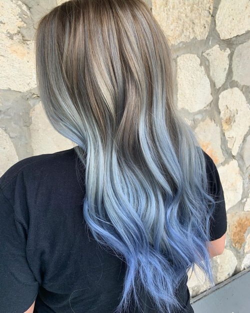 16 Pastel Blue Hair Color Ideas For Every Skin Tone Blonde And Blue Hair Blonde Hair Tips Blue Hair Highlights