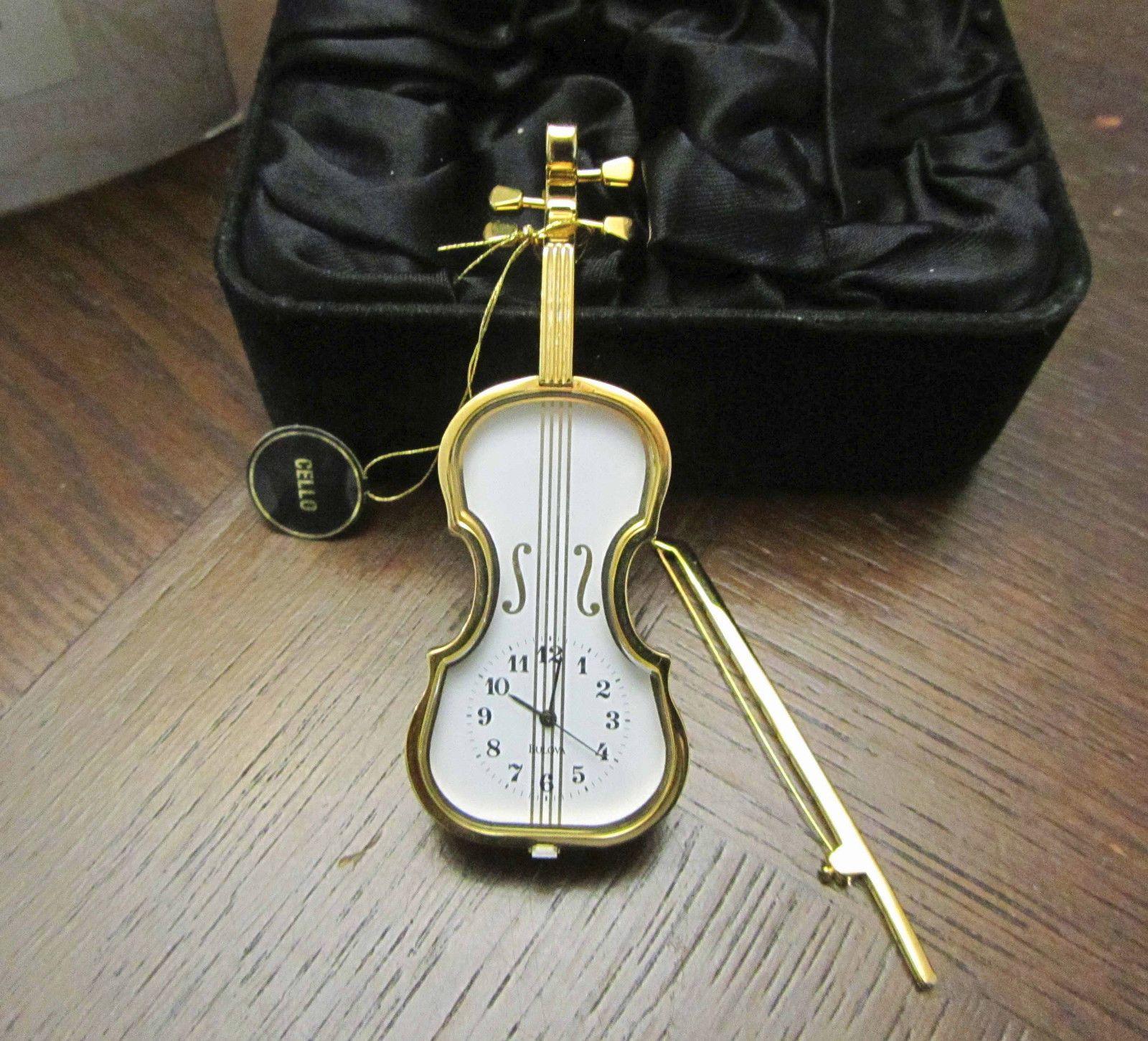 Vintage New in Box Bulova Miniature Clock B0533 Violin | eBay