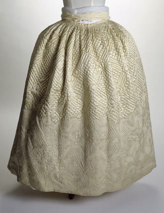 """White underskirt or petticoat. Quilted silk petticoat made of wool and cotton with a border of floral pattern.     Date  1771 AD - 1780 AD ""  http://www.museumoflondonprints.com/image/141610/white-underskirt-or-petticoat-18th-century"