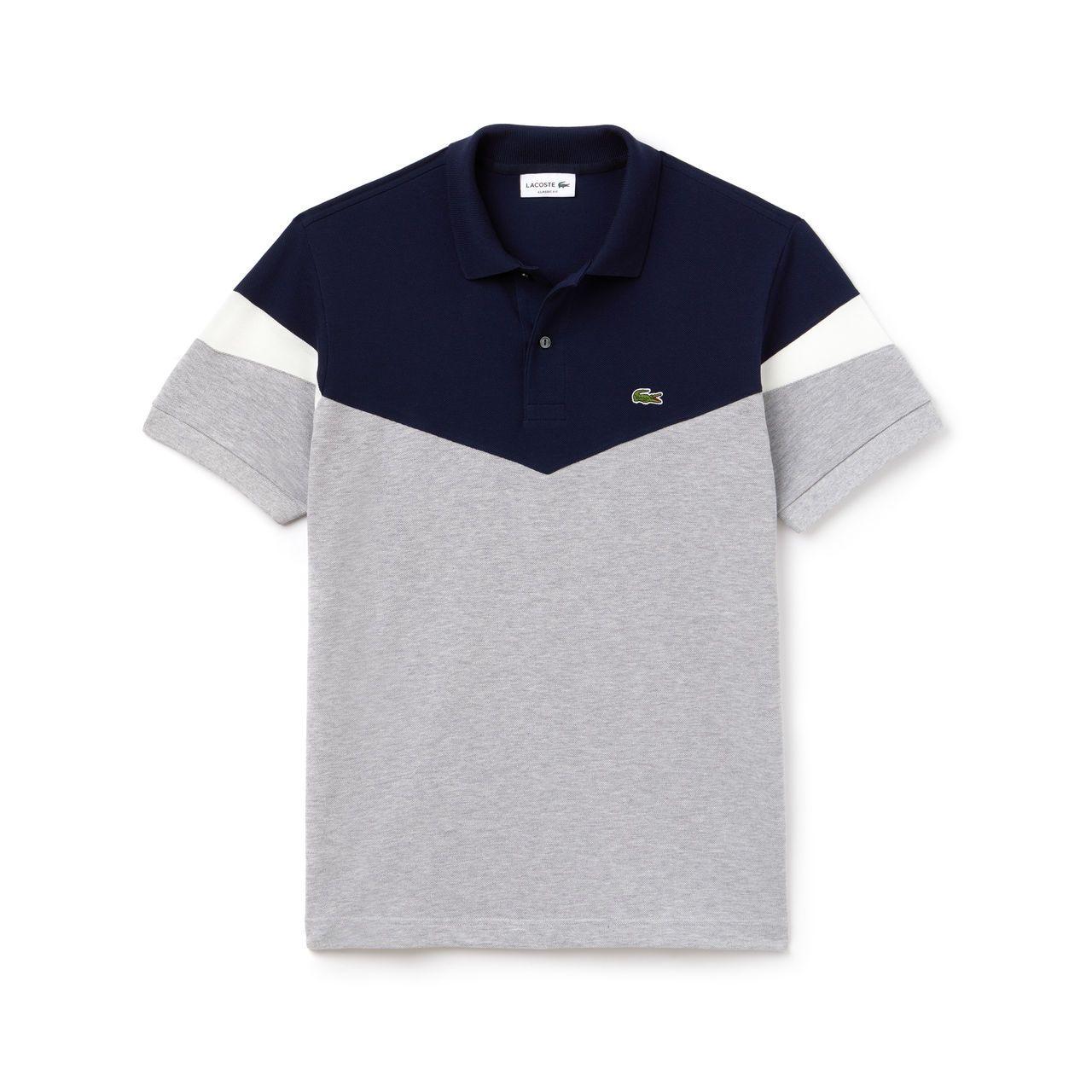 Polo classic fit Lacoste em petit piqué de algodão color block in ... d40b8c780860d
