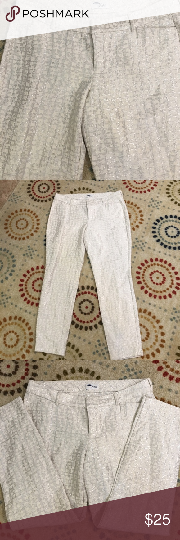 "Old Navy The Diva Silver White Capri 8 NWOT. Never worn size 8 slacks.    Waist = 17""  Hips = 19"". Inseam 26"".   Really fun classy slacks. Old Navy Pants Capris"