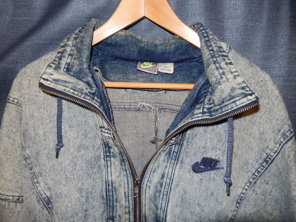 a80c4064 Vtg 80s 90s Nike Challenge Court Acid Wash Blue Denim Jacket XL Andre  Agassi og #Nike #BasicJacket