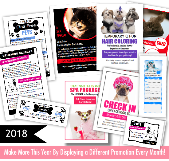36 Printable Pet Grooming Promo Pieces For Your Dog Grooming Salon 3 Different Promos For Each Month In 2018 Come Dog Grooming Dog Grooming Business Grooming