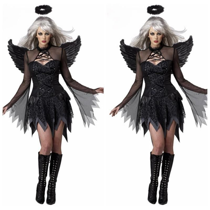 Red Gothic Angel Fairy Wings and Halo Halloween Dark Devil Fancy Dress Costume