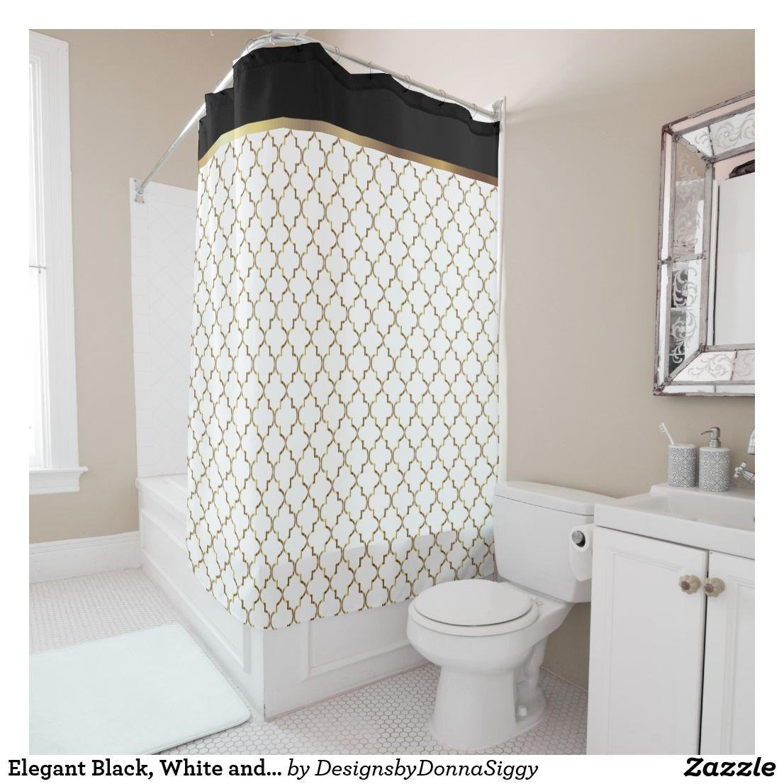 Elegant Black White And Gold Quatrefoil Patterns Shower Curtain