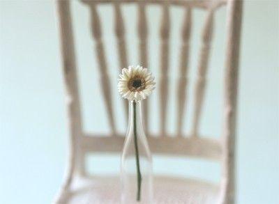 Casa de muñecas en miniatura flores - Mini Gerbera Margarita en blanco