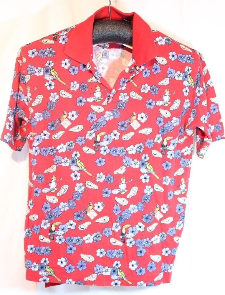 bd50c64a Tabasco Hawaiian Parrot Golf Polo Shirt Size XL 100% Cotton Red Hibiscus  Floral #Tabasco #PoloRugby