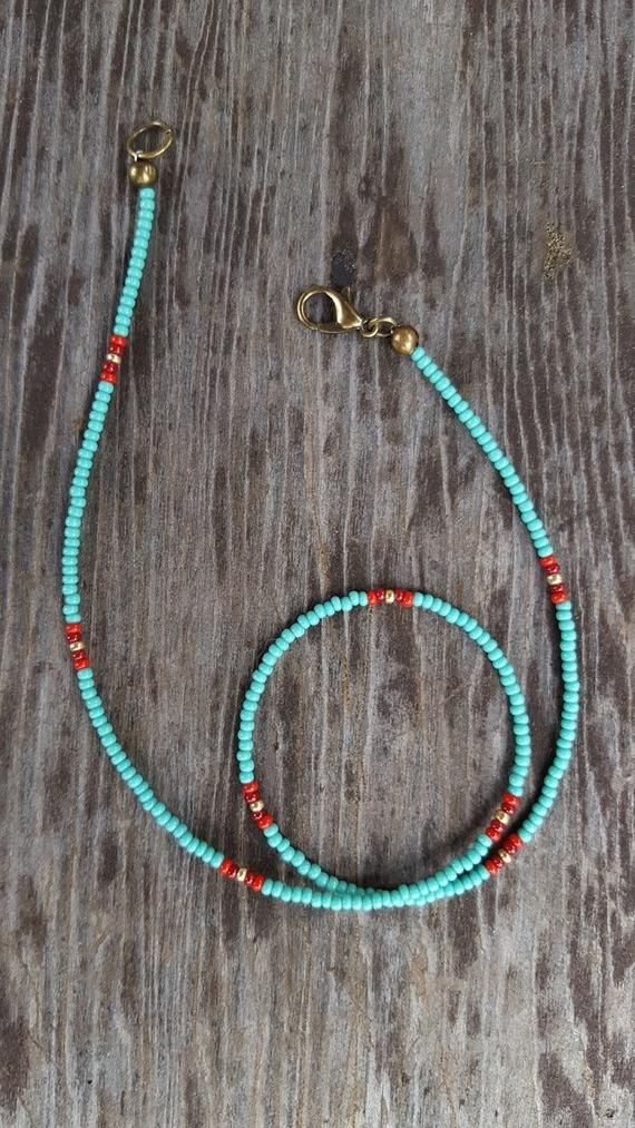 Photo of Turquoise Red Gold Beaded Choker, Blue Seed Bead Choker, Minimal Choker, tiny beads, Blue Red Gold,Small Beads Choker, Beaded Necklace