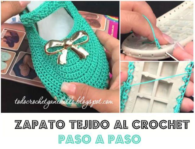 tutorial zapato tejido al crochet  9ffb2bf24a6