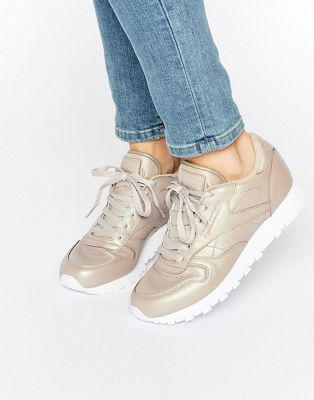 ecfff11a03d Reebok Classic Leather Sneakers In Gold Pearl