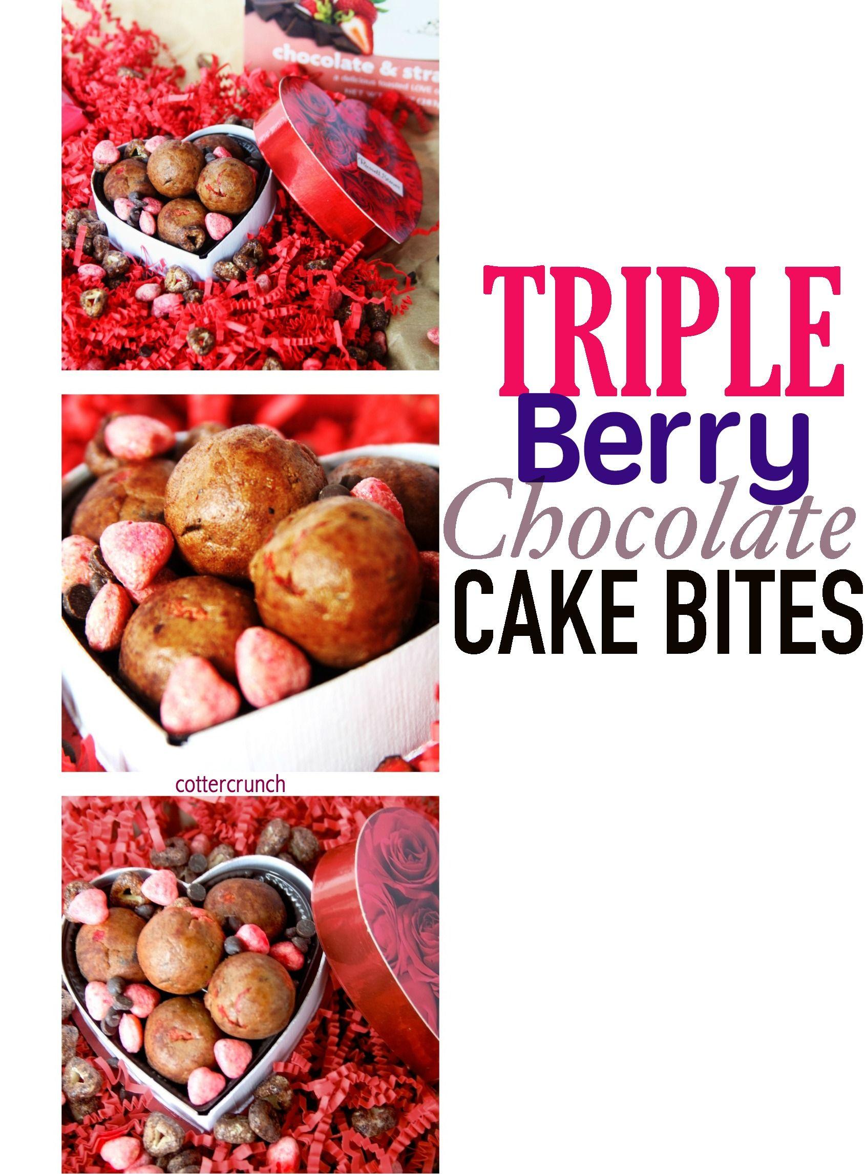 Gluten free triple berry chocolate cake bites recipe