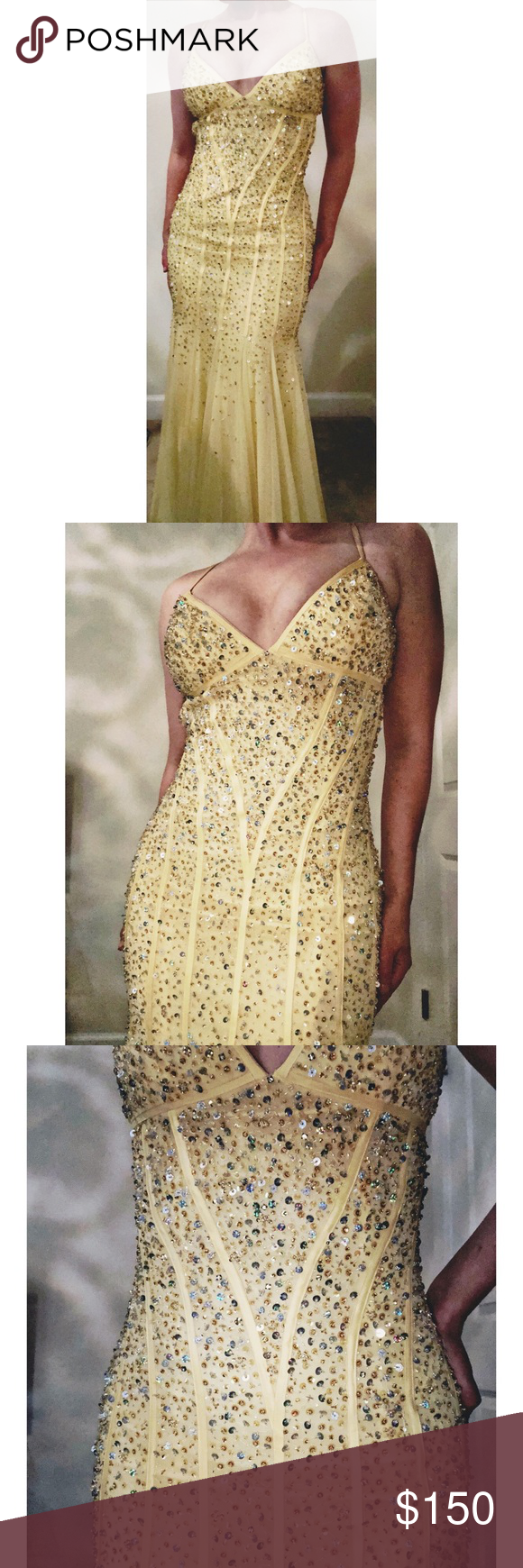 Cache yellow sequin formal dress size in my posh closet