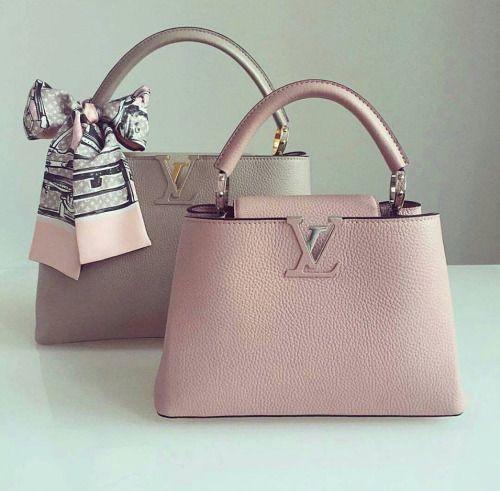 Louis Vuitton Capucine Handbag Pastel Pink Grey Matching Scarf Fashion