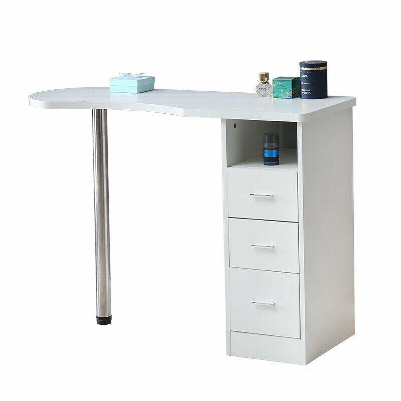 Beauty White Fiberboard Storage Manicure Nail Table Desk Salon Spa Equipment Station Room Decor