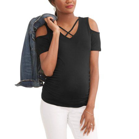 988bba828217a Planet Motherhood Maternity Cold Shoulder Strappy Neck Jersey Top, Women's,  Size: Small, Black