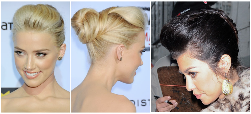 Pompadour Updo Amber Heard Kourtney Kardashian Hairspray
