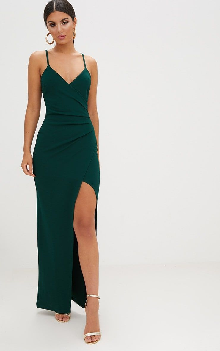 Emerald Green Wrap Front Crepe Maxi Dress