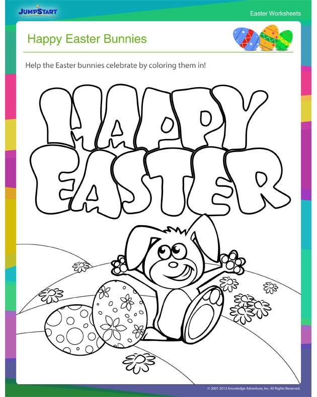 Happy Easter Bunnies - Cool Coloring Worksheet for Easter | Easter ...