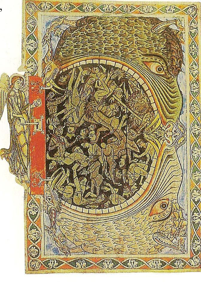 Ein Engel versperrt die Pforten der Unterwelt mit einem Schlüssel, Miniatur aus dem Psalter von Winchester, British Libary, London  Date 1150