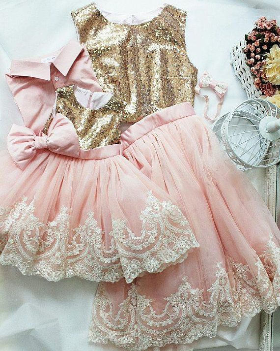 340d0743a Mother daughter matching tutu lace dress, Gold sequin dresses, blush ...
